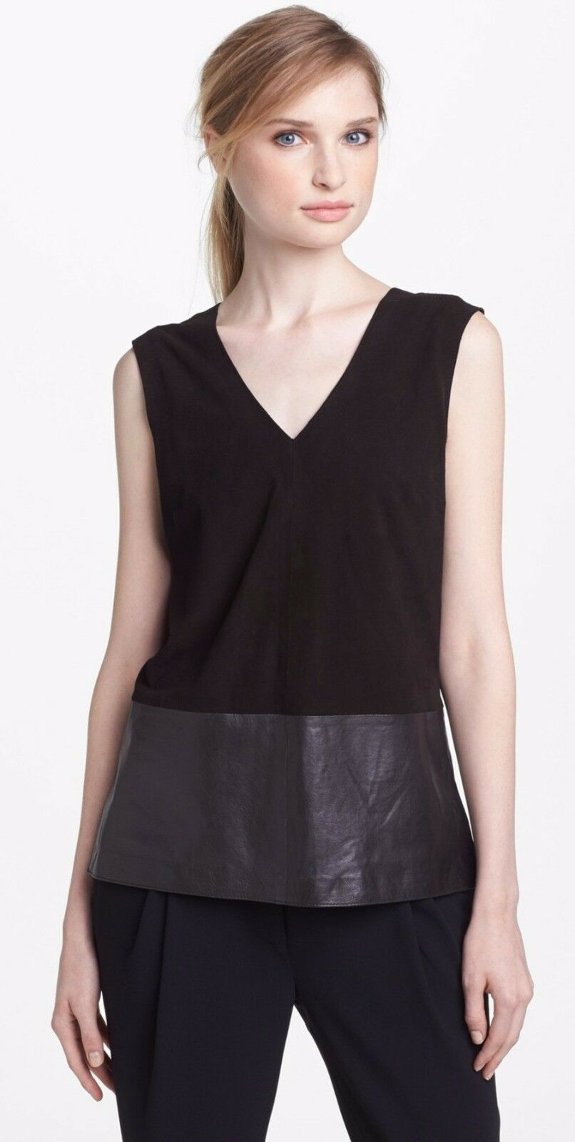 Vince Suede & Leather Hi-Low Sleeveless Slit Sides Tank Top schwarz 12 Nwt