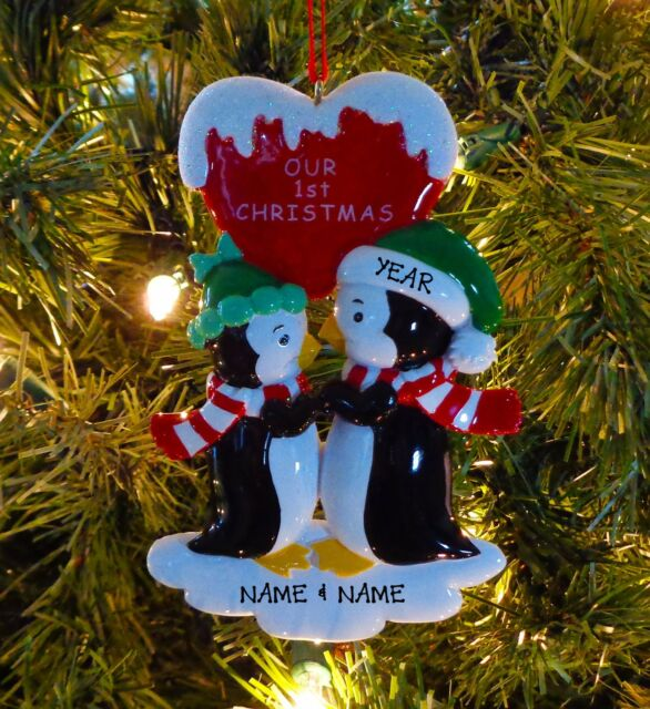 penguin kisses couple our first christmas personalized christmas ornaments