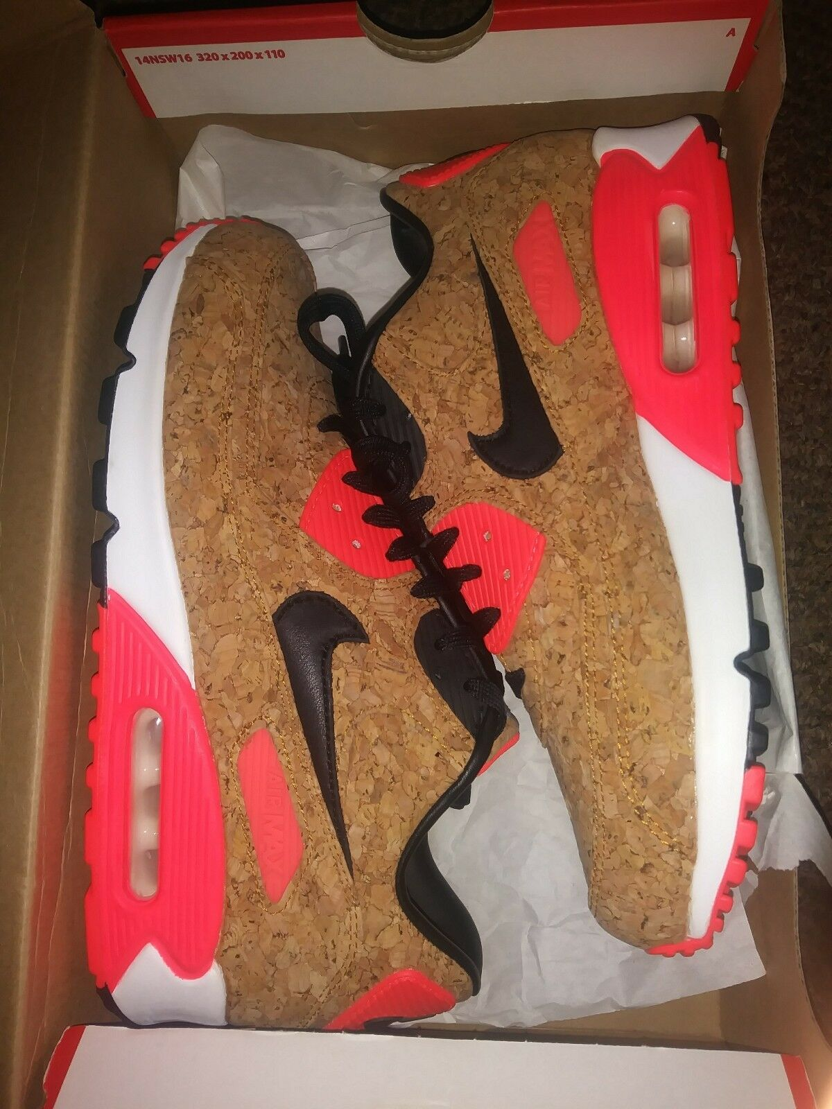 Nike Womens Air Max 90 Anniversary cork 726485-700 Infrared Size 7