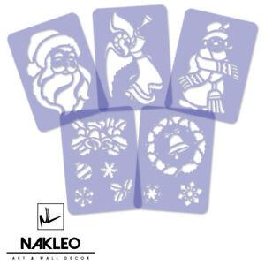 5x-plastica-riutilizzabile-Stencil-Per-Finestra-Di-Natale-Pupazzo-di-neve-Fiocchi-di-Neve-Natale-A4