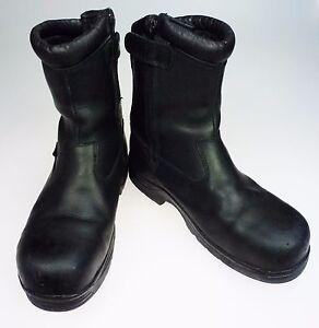 Mens-9-5M-Thorogood-Steel-Toe-Boots-Black-Waterproof-Inside-Zip