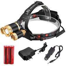ZOOM CREE 30000LUMENS 3X XML T6 LED Headlamp Head Light Torch Lamp 18650 Battery