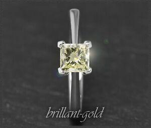 Diamant-Ring-lupenreiner-Prinzess-Solitaer-mit-0-81ct-aus-585-Weissgold-Neu