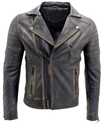 Uomo Brando classico doppia croce Zipper Vintage Nera Slim Fit Giacca di pelle