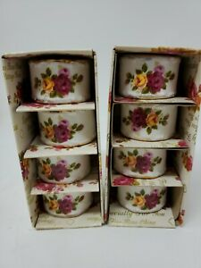 Country Cottage Roses Set of 4 Porcelain Napkin Rings Gold Trim