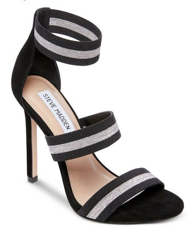 Steve Madden Womens Heels Carina Blk Silver Size 9.5