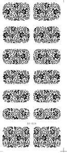 Las-transferencias-de-agua-de-Arte-de-Unas-Pegatinas-Decals-Negro-Flores-Margarita-Encaje-Estampado