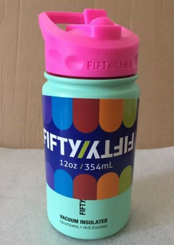New ~ Fifty//Fifty 12 oz Vacuum Insulated Flip Top Straw Bottle Mint Green /& Pink