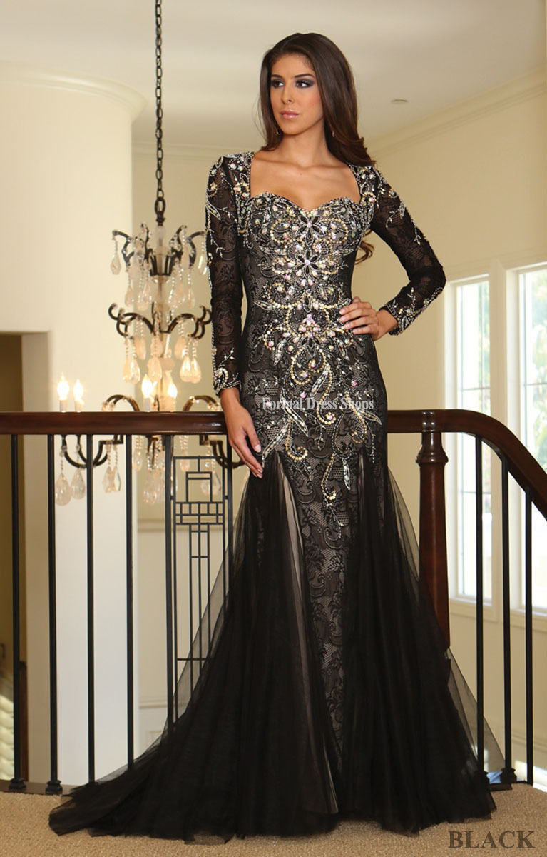 Red carpet long sleeves evening formal gown pageant unique - Designer red carpet dresses ...