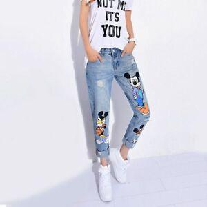 Details about Denim Pants Print Mickey Mouse Casual Ankle Length Boyfriend Jeans Women Fashion