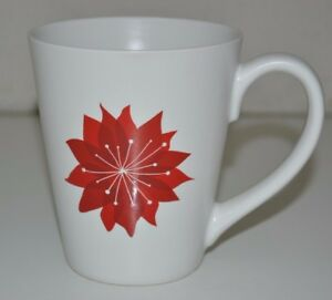 Minty 2011 Starbucks 12oz Coffee Tea Mug Cup Christmas Red Poinsettia Flower HTF