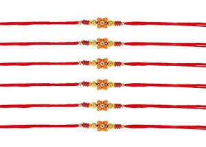 6 Rakhi Thread Raksha Bandhan Hindu Indian Festival Wrist Band Rakhadi Set of 6