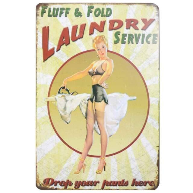 Laundry Service Retro Metal Tin Sign Homewares Decor Vintage Pin Up Girl Bar
