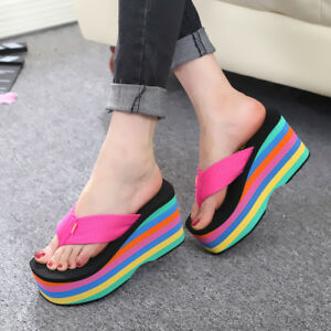 07e15e44b Women Flip Flop Wedge Heels Platform Rainbow Beach Sandals Creeper ...