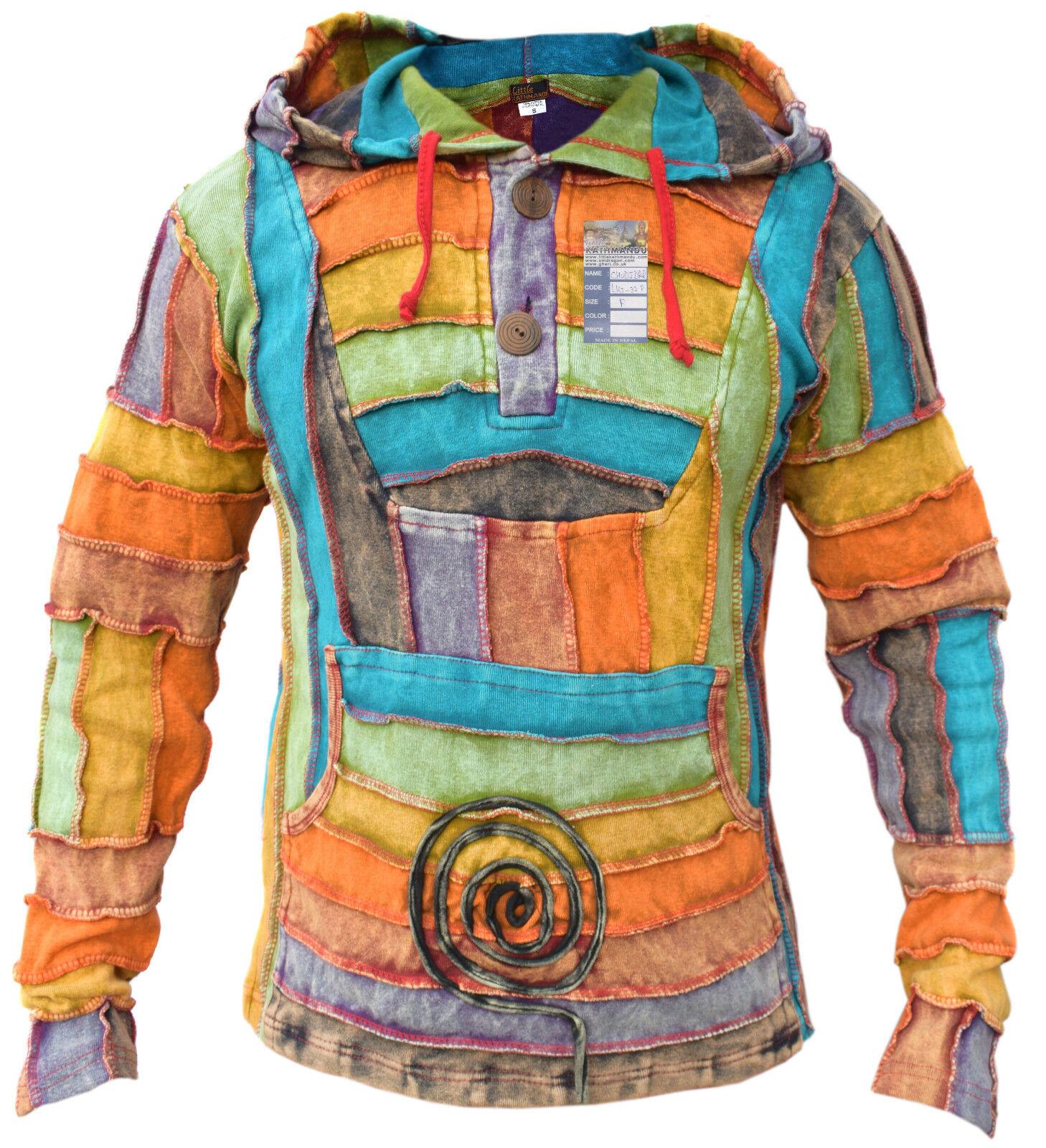 Herren Rainbow Baumwolle Patchwork Bunt Pullover Lange Pixie-Kapuze Hippie Pulli