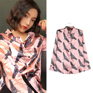 Lady-Crane-Print-Stain-Blouse-Tops-Long-Sleeve-Spring-Summer-Shirt-Loose-Fashion