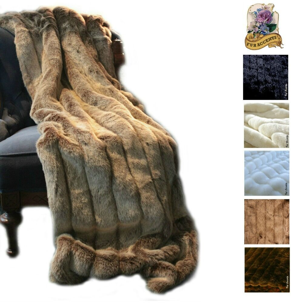 Plush Channel Mink Minky Faux Fur Throw Blanket Luxury Fur Soft Frosted braun