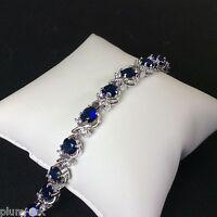 "GB041 Plum UK blue sapphire & cz 7""  tennis bracelet silver /white gold gf BOXD"