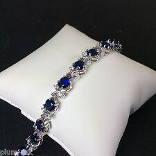 "GB Blue sapphire & cz 7""  tennis bracelet silver (white gold gf) BOXED Plum UK"