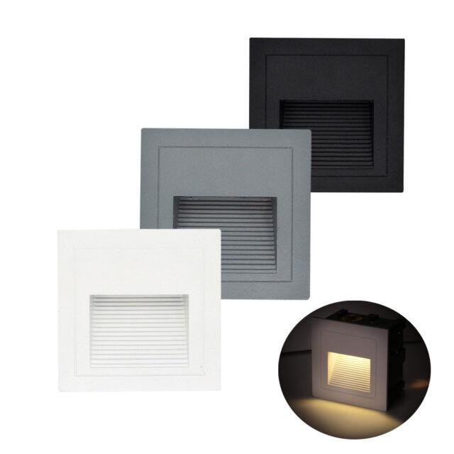 3W LED Wandeinbauleuchte Treppen Beleuchtung Wand Einbau Leuchte Stufen Alu 230V