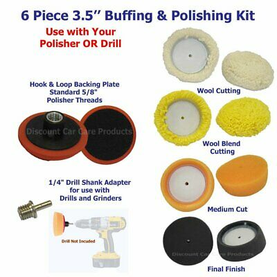 "Polisher Backing Plate 3/"" Buffing Pad Kit Drill Adapter 4 Buff Polishing Pads"