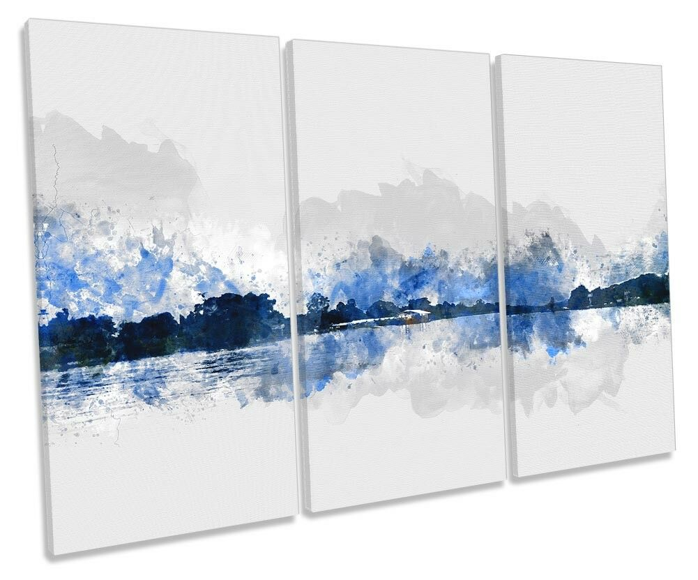 Blau Landscape Minimalist TREBLE CANVAS WALL ARTWORK Print Art