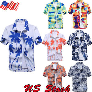 US-Men-039-s-Hawaiian-Shirt-Summer-Short-Sleeve-Floral-Printed-Beach-Tops-Blouse-New