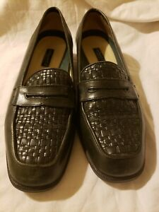 Vintage Bass Penny Loafer Olive Green  Woven  Leather Slip On Flats 8