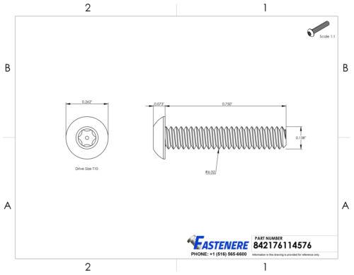 "6-32 X 3//4/"" Torx Security Machine Screws Button Head Stainless Steel Qty 50"