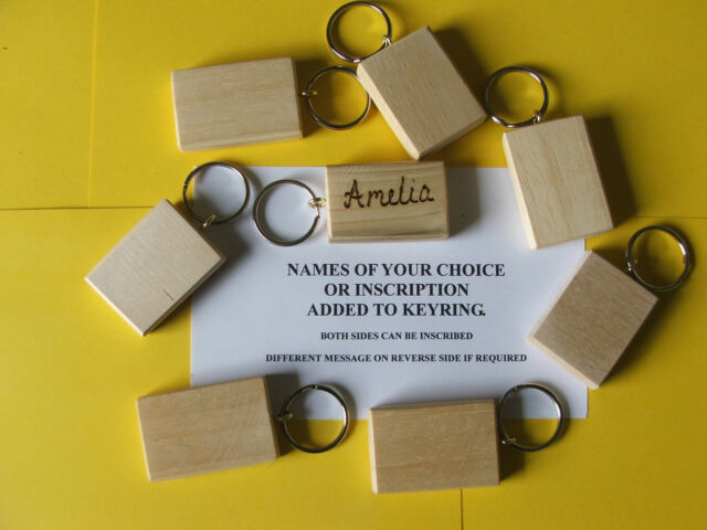 HARDWOOD-SYCAMORE-Personalised Keyrings,POLISHED,HAND MADE. £1-10 each+post-99p