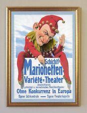 Schichtl´s Marionetten Theater Plakat um 1905 Büttenfaksimile 56 im Goldrahmen