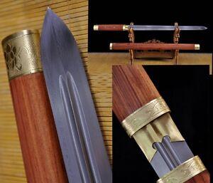 """劍 Full Tang Chinese Sword /""""Tang Jian/"""" Copper Fitting Sharp Blade Pattern Steel"""