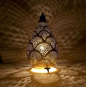 Handmade-Moroccan-Brass-Cone-Shaped-Table-Lamp