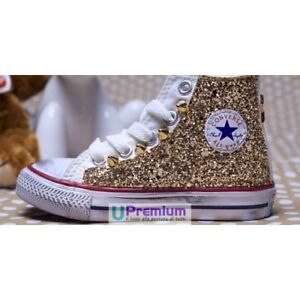 Details about Converse All Star Glitter Gold [Custom product] shoes with feeds show original title