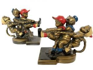 K&O Kronheim Oldenbusch Antique Bookend Set 2 Tug War Sculpture Amazing Color