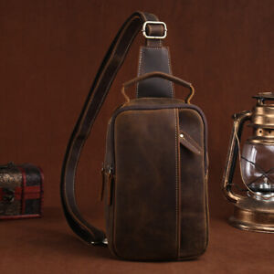 Mens Coffee Vintage Crossbody Bag Cowhide Crazy Horse Leather Sling Shoulder Bag