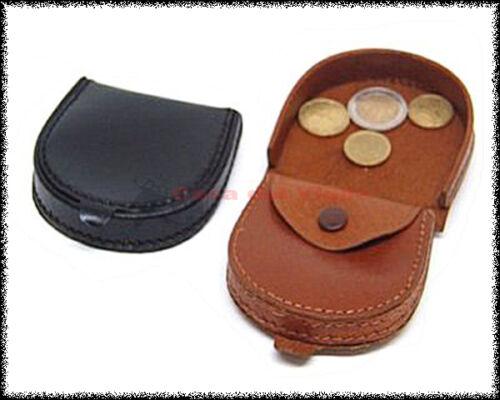 Porta monete in pelle a tallone NERO MARRONE o NATURALE CHIARO