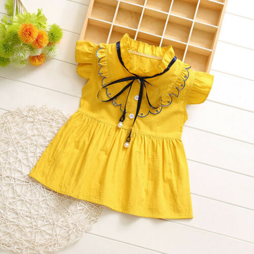 Toddler Infant Baby Kids Girls Ruffles Ruched Skirt Princess Dresses Clothes