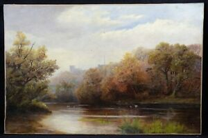 Great-oil-canvas-period-impressionism-landscape-d-039-automne-signature