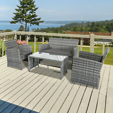 Outsunny 4Pcs Rattan Sofa Set Patio Wicker Furniture Garden Lawn Chair Grey