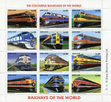 Sierra Leone 1995 MNH Railways of World 12v M/S US Trains Colourful Railroads