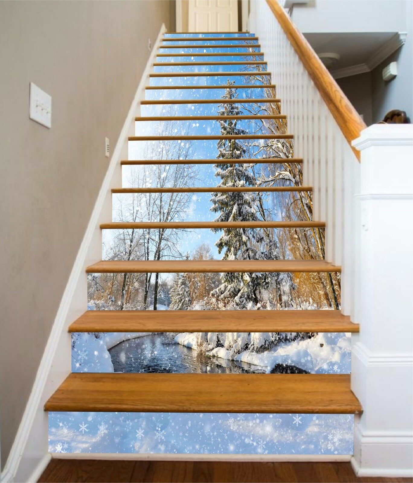 3D Tree snow 5 Stair Risers Decoration Photo Mural Vinyl Decal Wallpaper UK