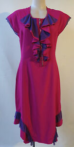 Cara-Rossi-dress-size-S-10-cap-sleeve-frilled-zip-front-pink-purple