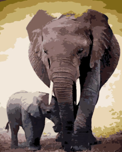 """40*50/"""" Elephant  Animals Paint By Number Kit DIY Acrylic Oil Painting Wall Decor"""