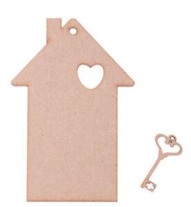 Wooden Filigree Heart /& Key Shape set 4.25 x 4cm 5 Pack Unpainted