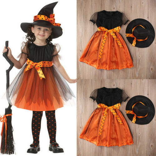Halloween Witch Fancy Dress Toddler Kids Girl Party Costume Outfit+Hat uk