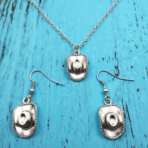 cowboy hat Necklace earring pendants jewelry,Silver handmade jewelry sets,Gift