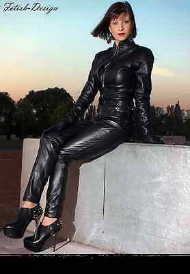 Genuine Leather Catsuit Lederoverall Long Zipper Dress Cat suit kinky Dress