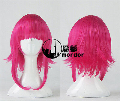 the Dark Child Annie Cosplay Party Wig Wig Cap Pink Short Hair