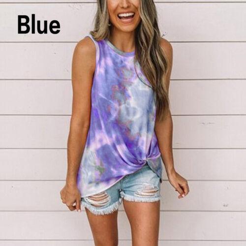 Women Hot Vest Tie-dye Sleeveless Vest Summer Tank Tops T-Shirt